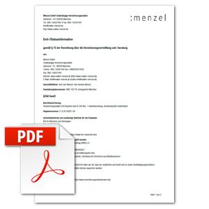 Erstinformation nach § 15 Versicherungsvermittlungsverordnung als PDF herunterladen